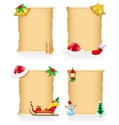 set vintage christmas blank scroll vector image vector image