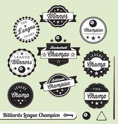 Billiards Champion Labels vector image vector image