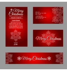 Four cards with white snowflakes on red background vector image
