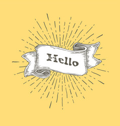 hello hello icon in vintage hand drawn ribbon vector image