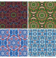 Seamless pattern in blue and green colors vector image