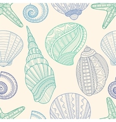 Seamless pattern with marine seashells and vector image