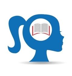 Silhouette head girl school book vector