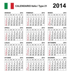 Calendar 2014 Italy Type 21 vector image vector image