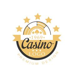 casino logo premium design golden vintage vector image vector image