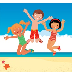 Funny children on the beach vector image