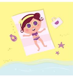 sunbathing girl on the beach vector image vector image