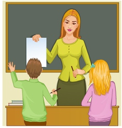 Teacher and children at blackboard eps10 vector image vector image