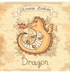 Vintage card with Chinese zodiac - Dragon vector image vector image
