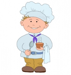 cook with cup of coffee vector image