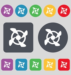 Fan Icon sign A set of 12 colored buttons Flat vector image