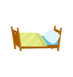 flat wooden bed with pillow and blanket vector image