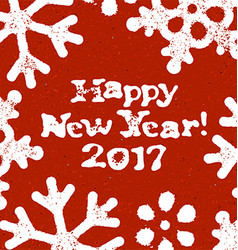 Happy new year 2017 postcard grunge design on red vector