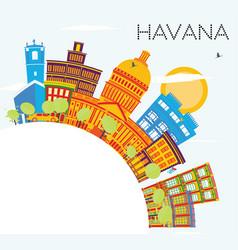 Havana skyline with color buildings blue sky and vector