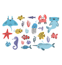 sea life set hand drawn algae blowfish vector image