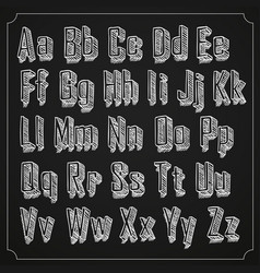 sketch font set with shadow alphabet on white vector image vector image