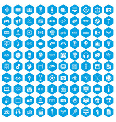 100 video icons set blue vector image
