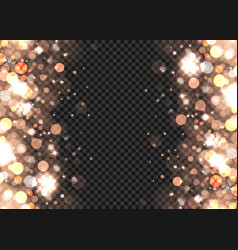 Abstract bronze bokeh lights on transparent vector