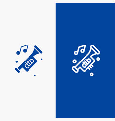 Accessories car horn noise trumpet line and glyph vector