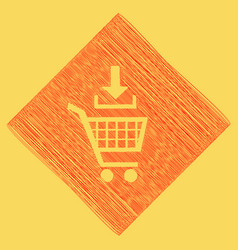 add to shopping cart sign red scribble vector image vector image