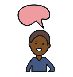 Afro young man with speech bubble avatar character vector