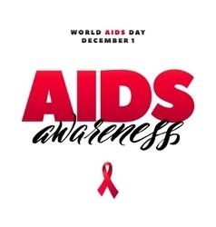 Aids awareness world day 1 december red vector