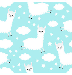 alpaca llama jumping seamless pattern cloud star vector image