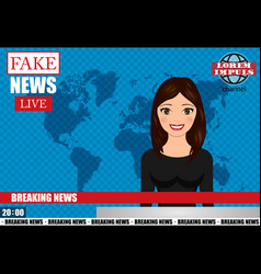 Anchorman on tv broadcast news fake breaking news vector