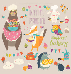 Animals baking sweets vector
