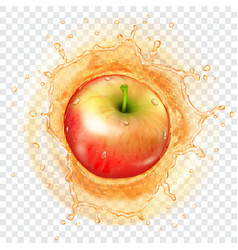 Apple falling into a juice vector