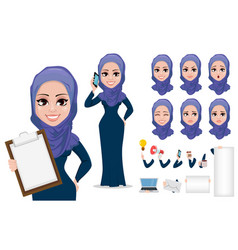 arabic business woman character creation set vector image