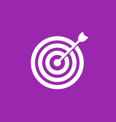 Arrow in center of target icon vector