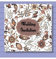 Autumn wedding invitation brown on wooden vector