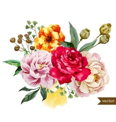 beautiful pattern with nice watercolor flowers vector image