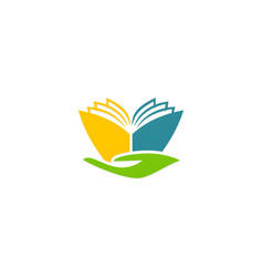 Book abstract hand education logo vector