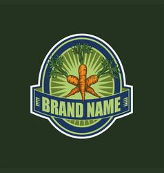 carrot bagde brand vector image