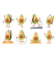 cartoon avocado character fitness funny avocados vector image