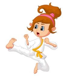 Cartoon Girl playing karate vector