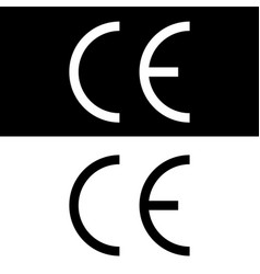 ce mark ce symbol on black and white backgrounds vector image