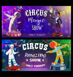circus show performers funfair carnival clowns vector image