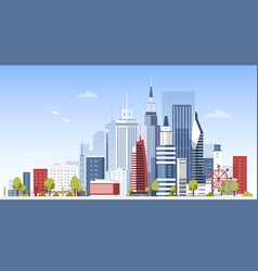 cityscape with city downtown buildings panoramic vector image