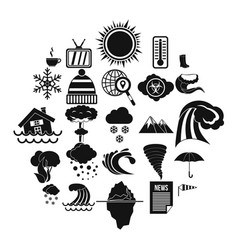 clime icons set simple style vector image