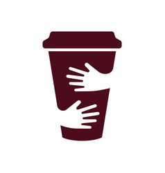 Coffee cup and hands logo cafe symbol vector