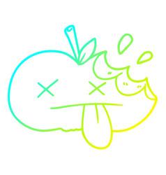 Cold gradient line drawing cartoon bitten apple vector