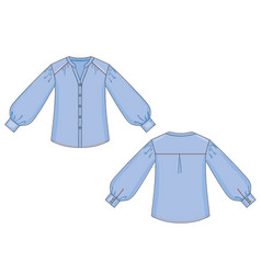 Color fashion technical sketch blouse with vector