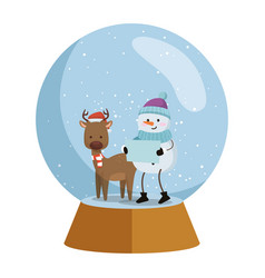 cute reindeer with snowman christmas characters vector image
