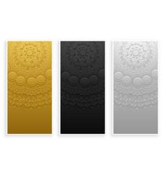 elegant and premium mandala banners set vector image