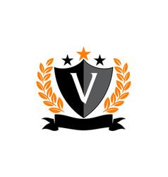 Emblem star ribbon shield initial v vector