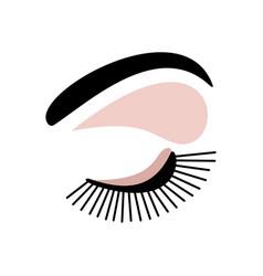 Eyelashes and eyes logo on a white background vector