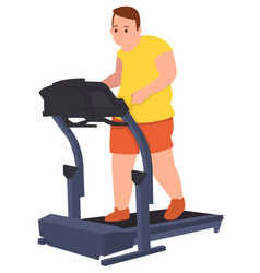 fat guy doing workout running to loss his weight vector image